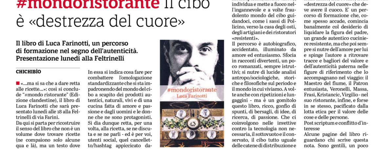 """#mondoristorante. Il cibo è """"destrezza del cuore"""". Il libro di Luca Farinotti. Un percorso di formazione nel segno dell'autenticità (di Chichibìo, Cultura- Gazzetta di Parma)"""
