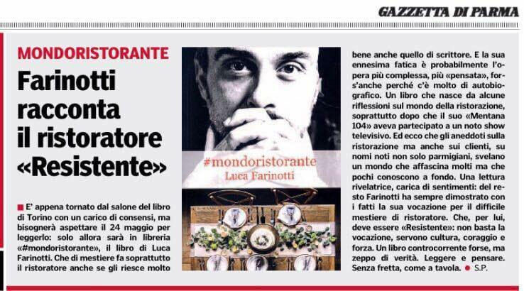 #mondoristorante: Luca Farinotti racconta il Ristoratore Resistente – articolo di Sandro Piovani – Gazzetta di Parma