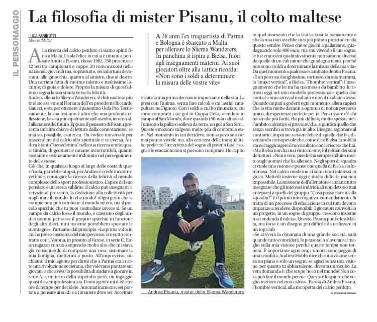 """Avvenire, 4 novembre 2020- """"Alla ricerca del calcio perduto: Andrea Pisanu"""" di Luca Farinotti"""